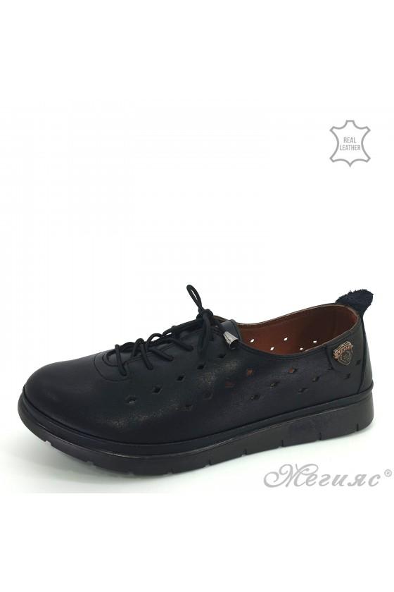 Дамски ортопедични обувки спортни  естествена кожа черни перфорация 035