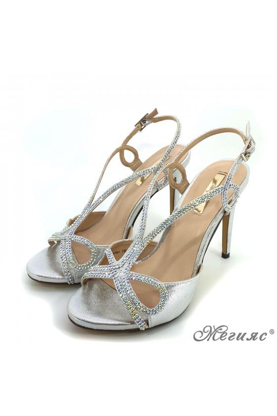 Дамски сандали  Jeniffer 18s20-128 сребристи елегантни на висок ток