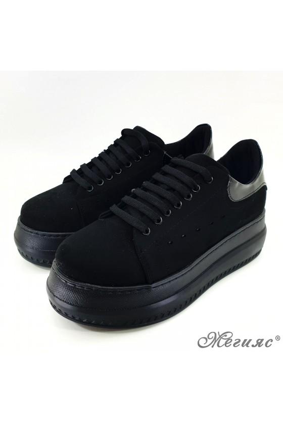 Lady sport shoes black suedde 058