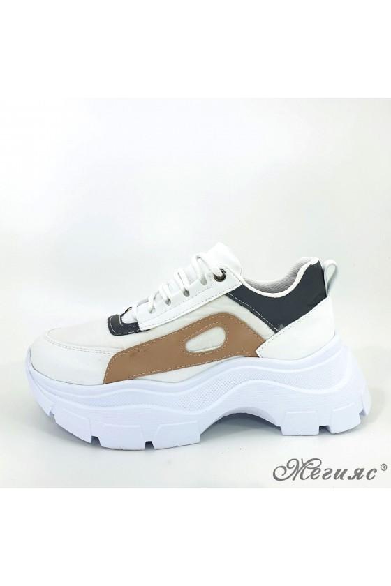 Дамски обувки спортни бяло с бежово  3040