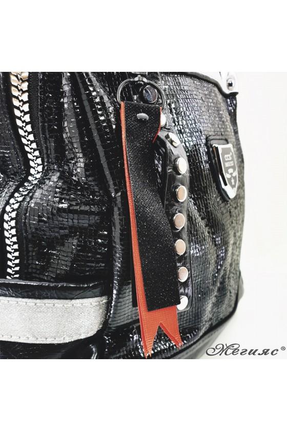 Дамска черна раница  от еко кожа 16182