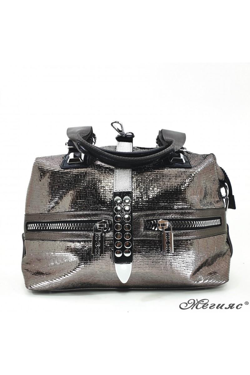 16460 Дамска чанта графит от еко кожа