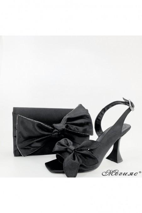 Дамски сандали на ток черни 6298 с чанта 118