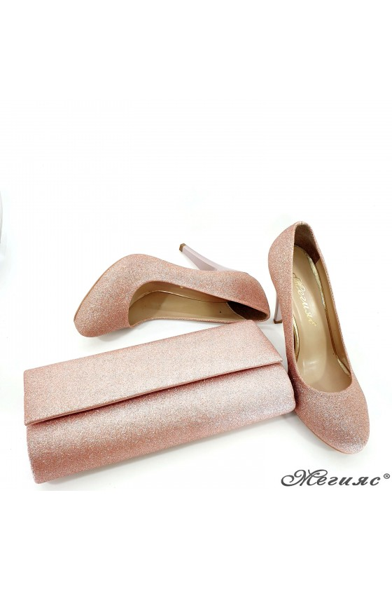 Lady shoes pudra high heels 218-1 whit  bag 373