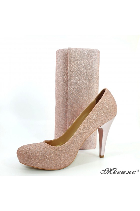 Lady shoes pudra high heels...