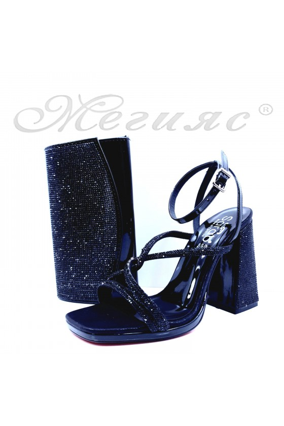 1794 Lady sandals black with bag 1519