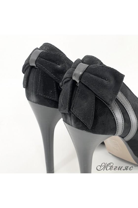 Дамски обувки на ток  естествен набук черни 34-24-028