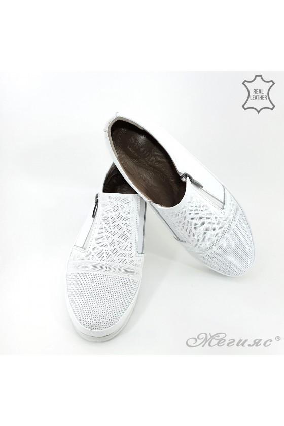 Дамски ортопедични обувки естествена кожа бели 201
