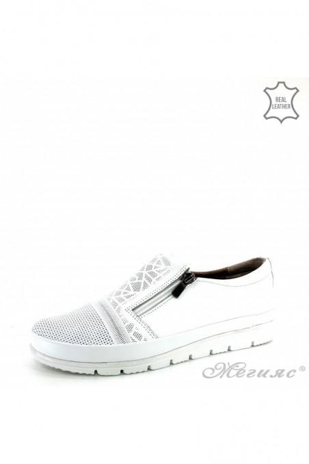 Дамски обувки естествена кожа бели 201