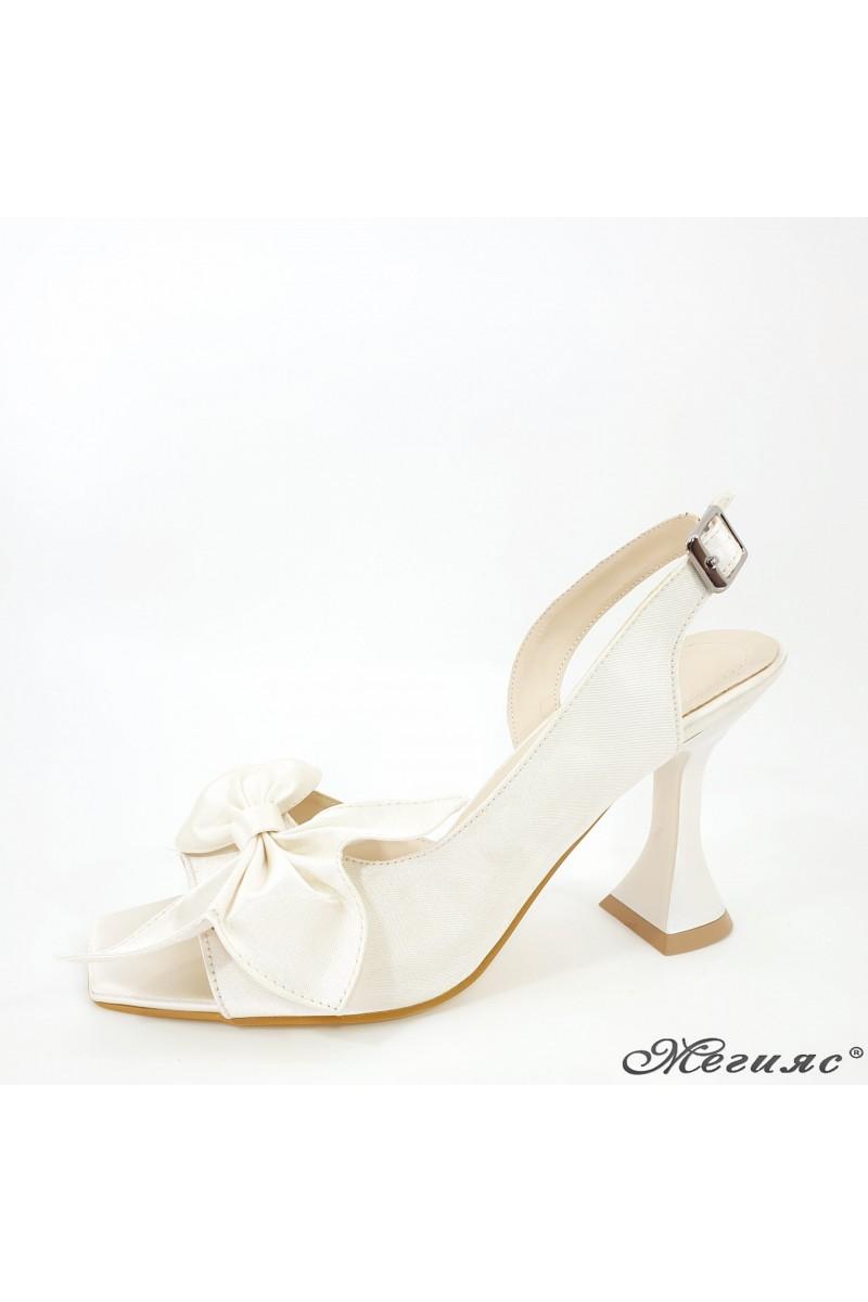 Дамски сандали шампанско елегантни на ток 6298