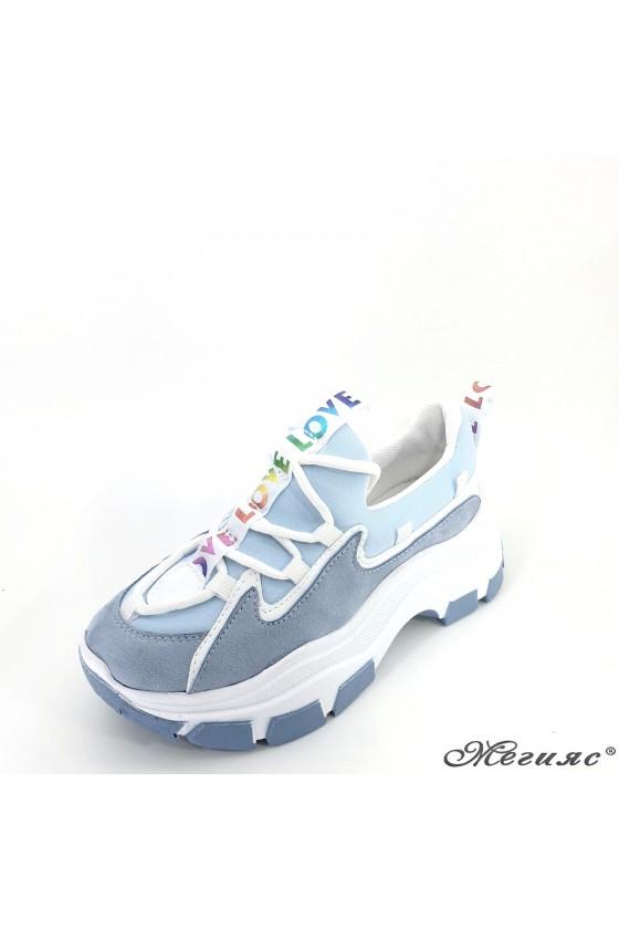 Lady sport shoes blue textile 9933