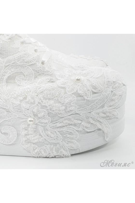 Lady shoes white textile 710-16