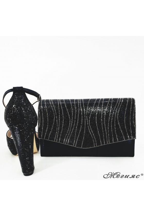 Дамски обувки и чанта комплект черни текстил 171 и 430