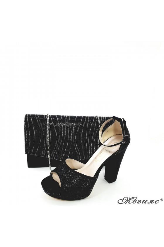 Дамски сандали на ток черни 171 с чанта 430