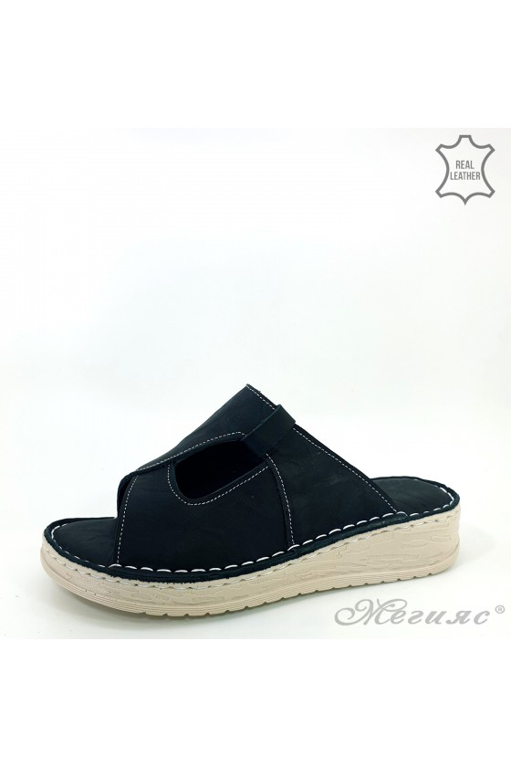 Дамски чехли естествена кожа черни 01