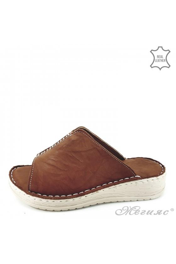 Дамски чехли естествена кожа  таба 04