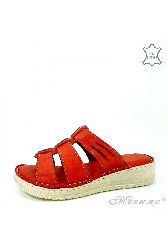 Lady slippers red leather 05