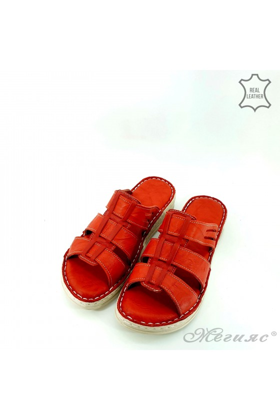Дамски чехли естествена кожа червени 05