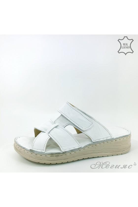 Дамски чехли естествена кожа бели 06