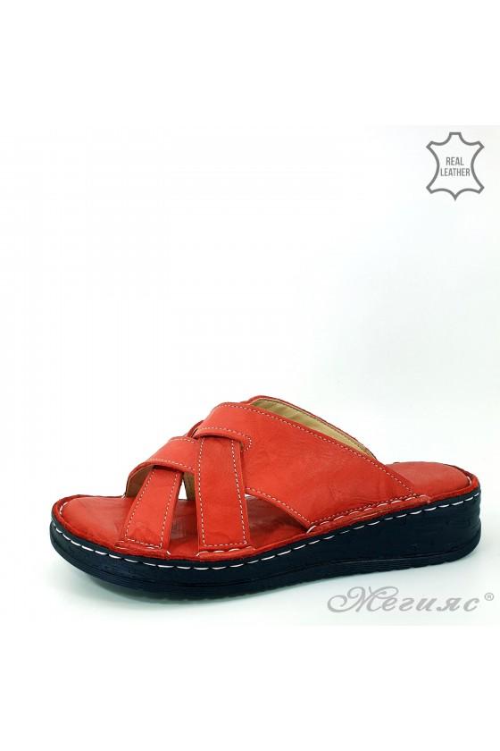 Дамски чехли естествена кожа червени 07