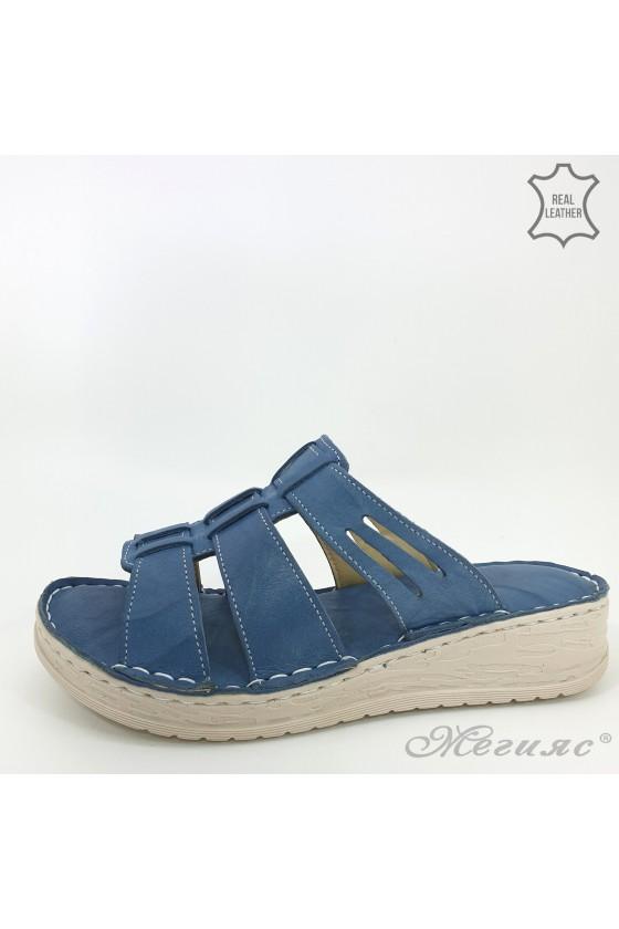 Дамски чехли естествена кожа сини 05