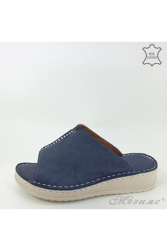 Дамски чехли естествена кожа сини 04