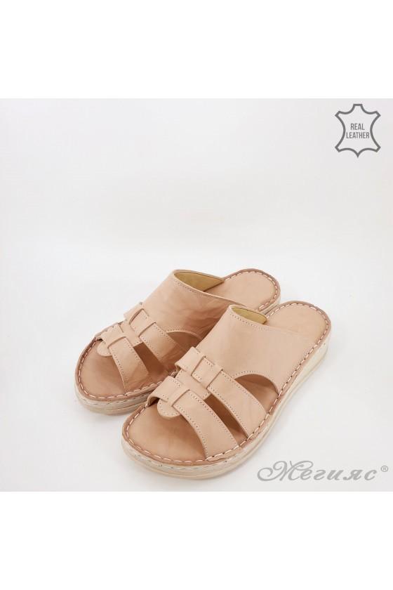Дамски чехли естествена кожа бежови 02
