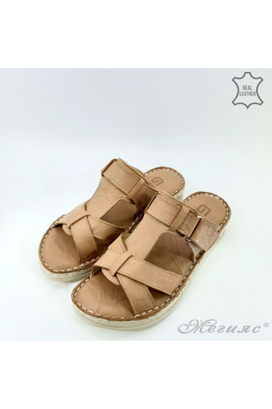 Lady slippers beige leather 08