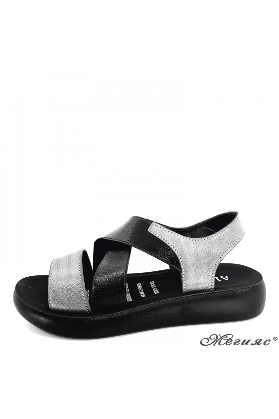 Дамски сандали от еко кожа графит 73-31
