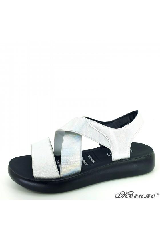 Lady sandals silver pu 73-32