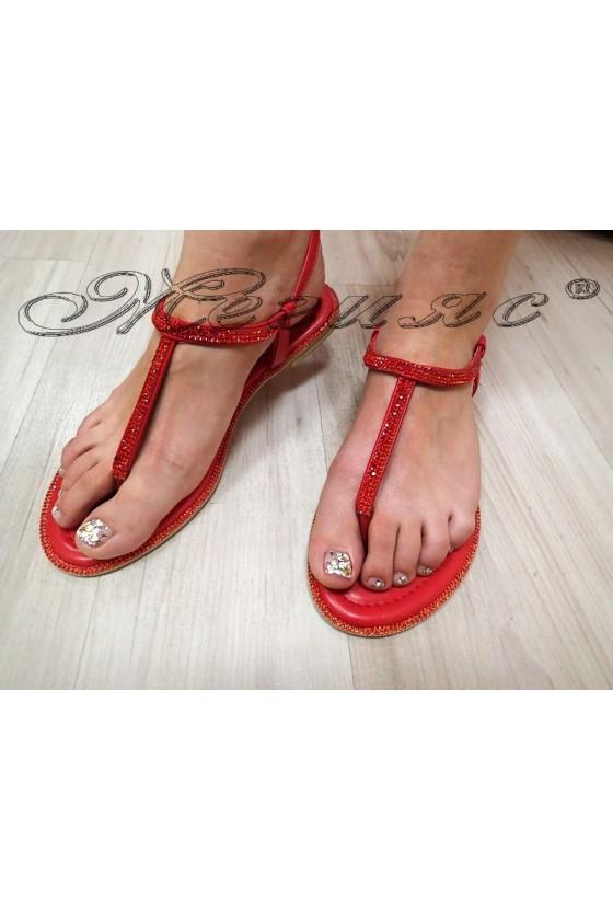 Дамски сандали LINDA 2016-352 червени с камъни равни