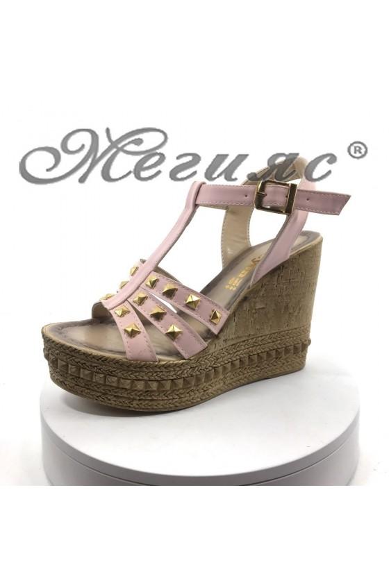 Дамски сандали S-900 пудра от еко кожа на висока платформа