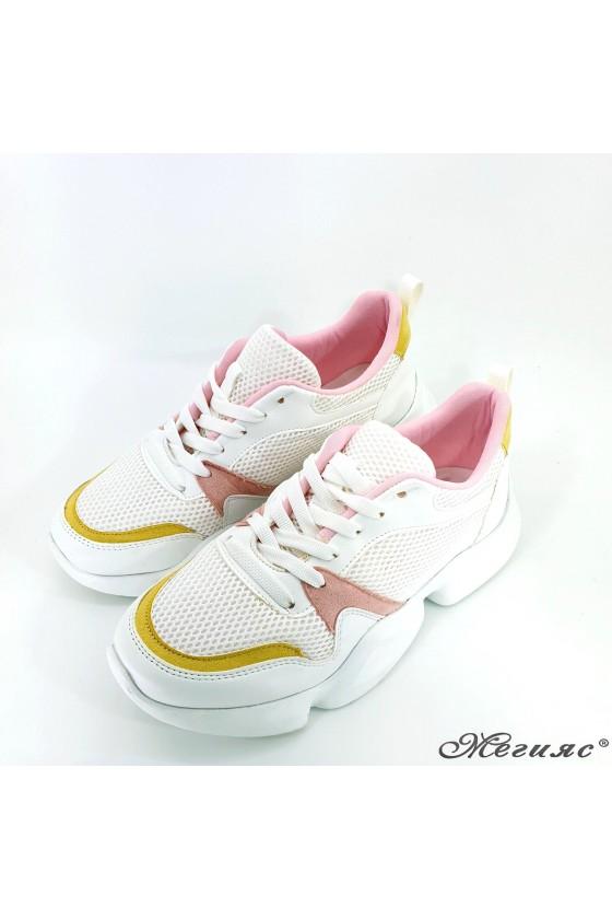 Дамски обувки бели с пудра 5053