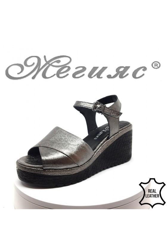 Lady platform sandals 100 dk.grey leather