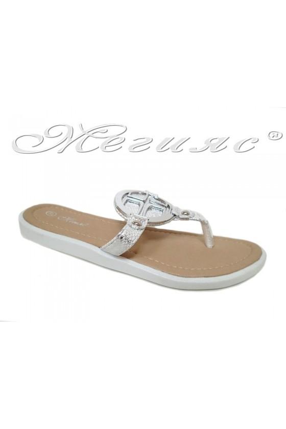 Дамски чехли S-111 бели от еко кожа равни
