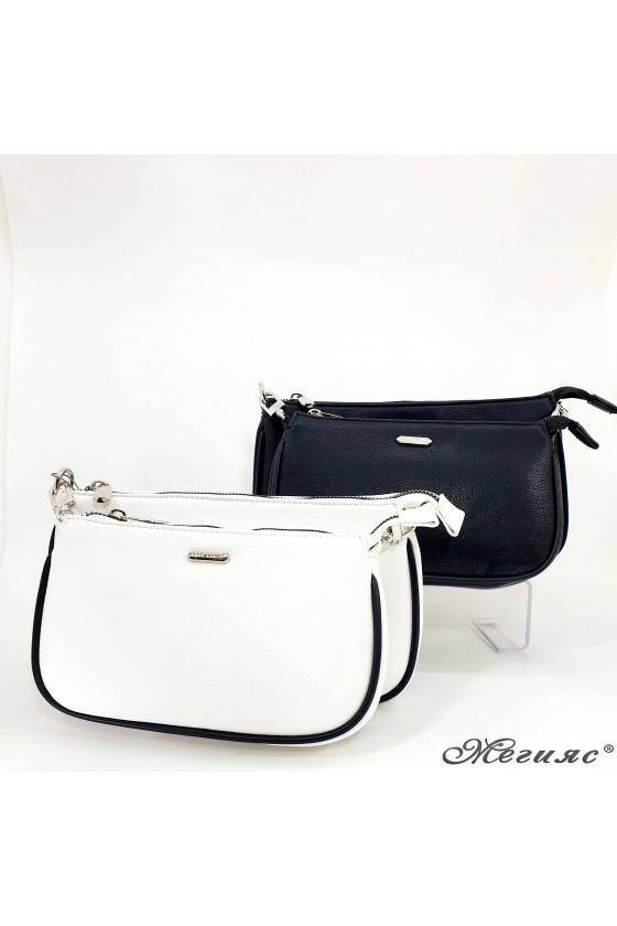 Малка дамска чанта черна/бяла 6023