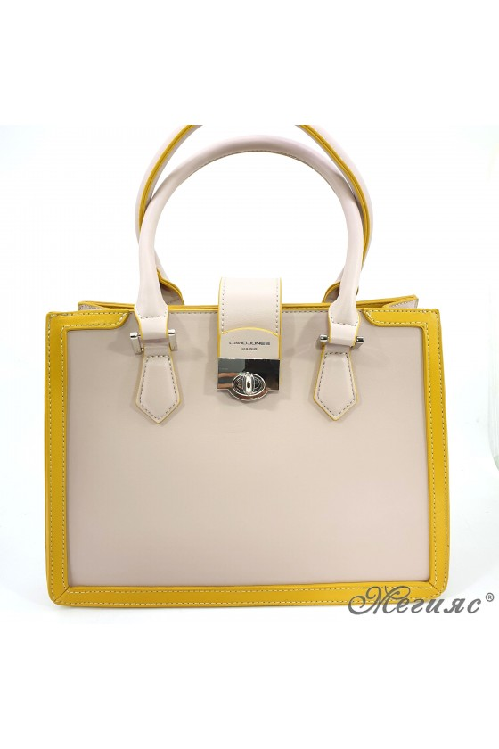 Дамска чанта бежово с жълто 6236