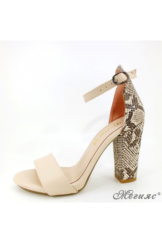 Lady sandals beige with...