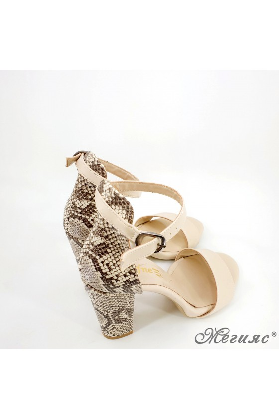 Lady sandals beige with snake 110