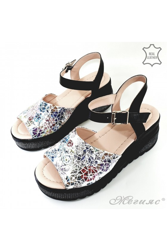 Lady sandals black leather 192-11