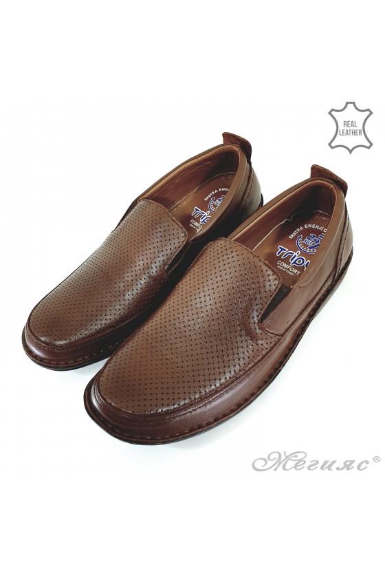 Мъжки обувки XXL от естествена кожа таба 2115