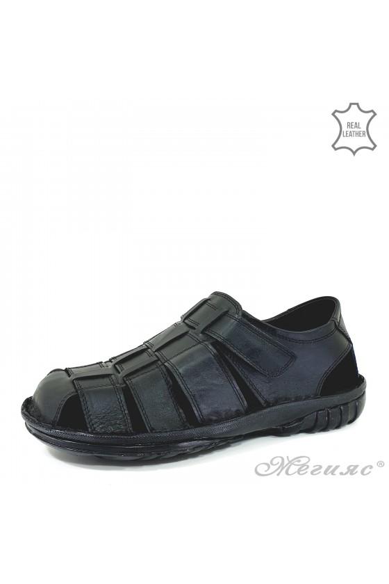 Мъжки сандали от естествена кожа черни 012