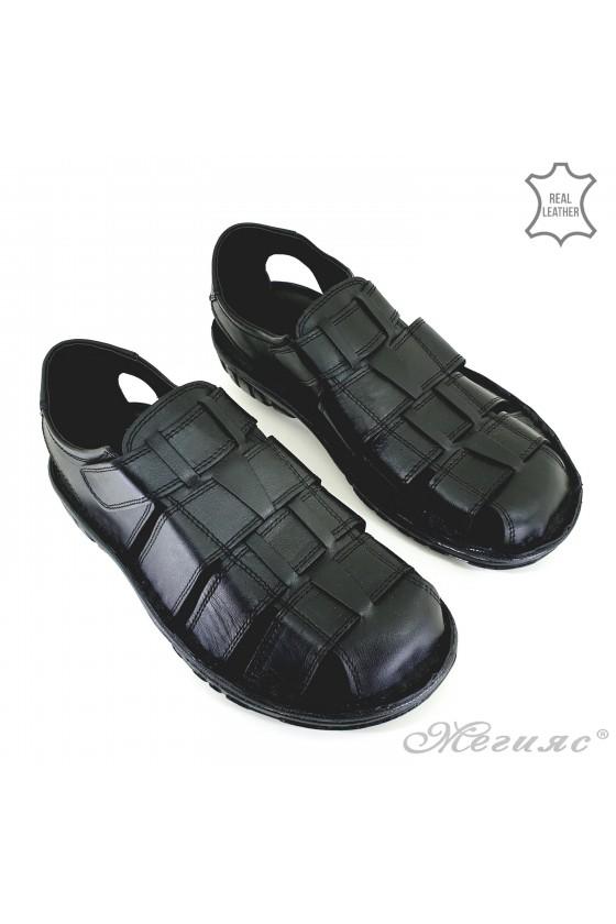 Men sandals black leather 012