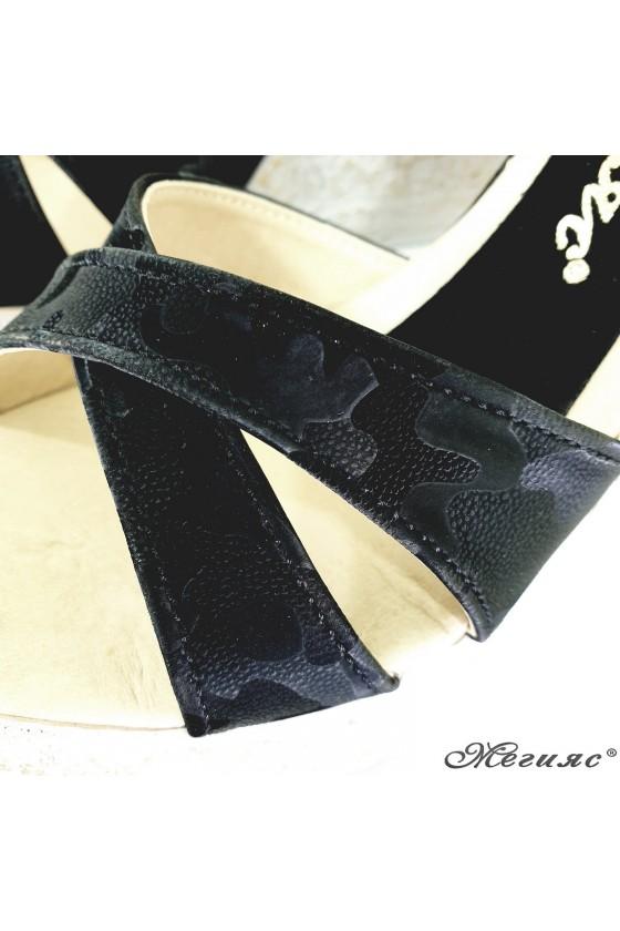 Дамски сандали черен камуфлаж 2005