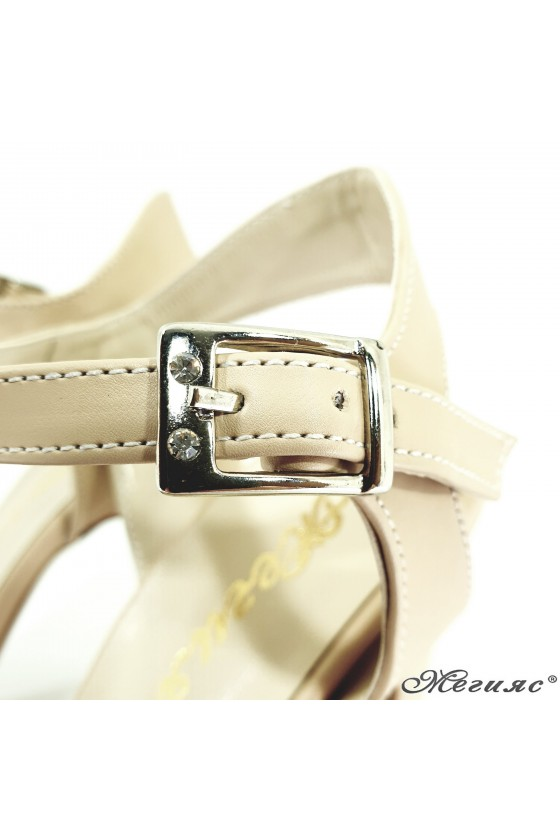 Lady sandals beige pu with high heels 501