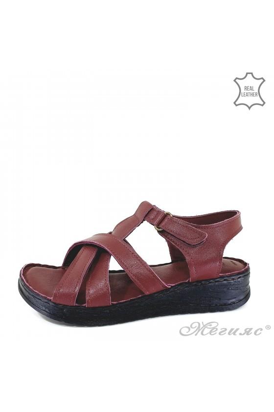 Дамски сандали от естествена кожа бордо 002