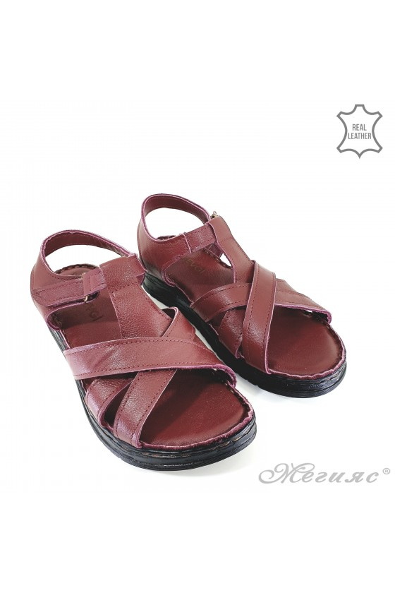 Lady sandals bordo leather 002