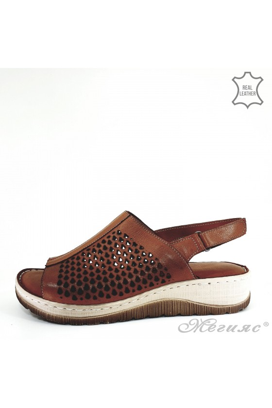 Дамски сандали от естествена кожа таба 237
