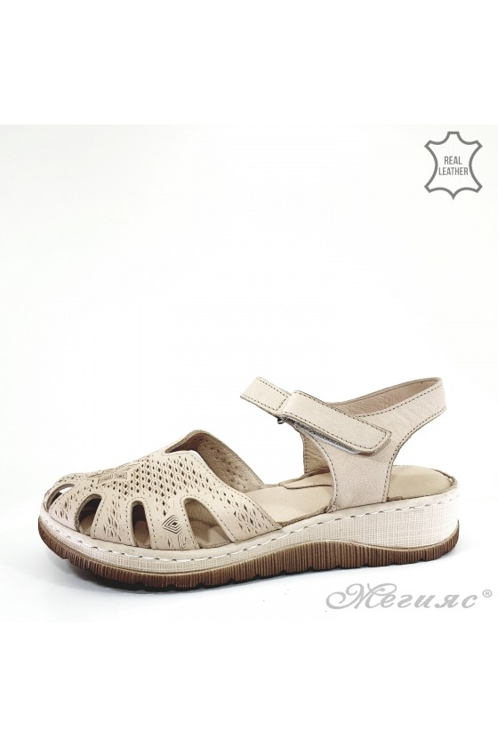 Lady sandals beige leather 245