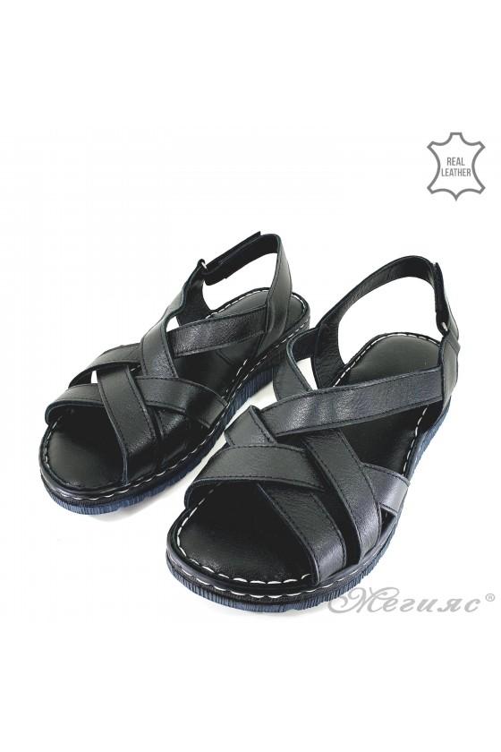 Lady sandals black leather 232